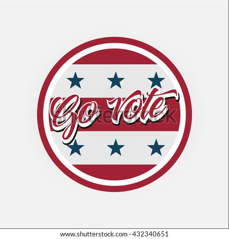 Election Voting Stickers and Badges in USA red, white and blue - stock vector