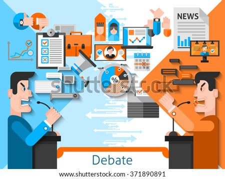 Elections and voting flat color composition with public debates of candidates in foreground and media icons in background vector illustration  - stock vector