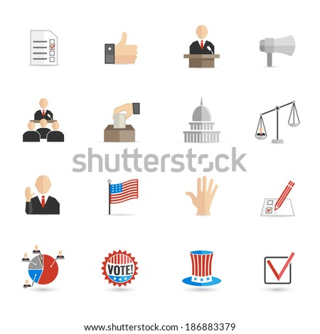 Elections and voting icons set with ballot mark sign hand flag isolated vector illustration - stock vector