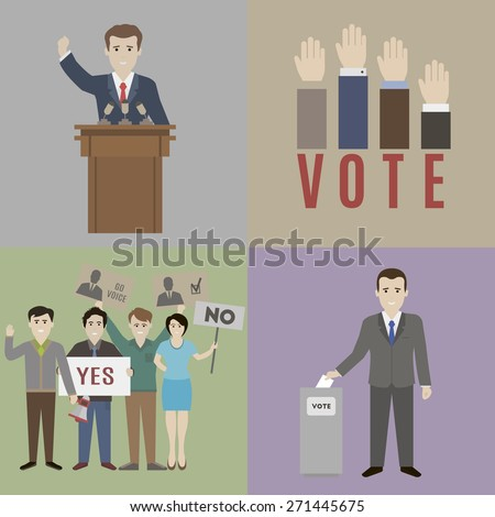 Elections. The candidate and the electorate. Flat style - stock vector