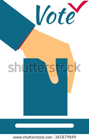 Elections. Vote. Hand holds ballot . Social poll. Exit poll. - stock vector