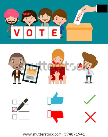 Elections with voting debates, Hand casting a vote,Voting concept in flat style,people voting at ballot box,vector,illustration.Election - stock vector
