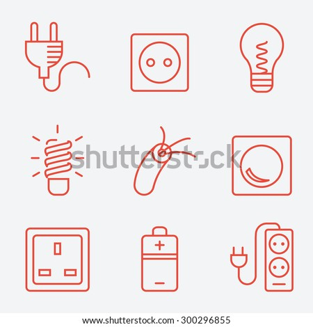 Electric accessories icons, thin line style, flat design  - stock vector