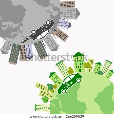 Electric and fuel engine cars riding on the Earth surface. Vector illustration eps8 format. - stock vector