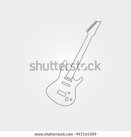 Electric bass guitar on white background