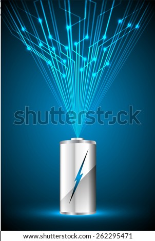 electric battery energy, vector illustration, dark blue Light Abstract Technology background for computer graphic website internet. wave. silver. circuit - stock vector