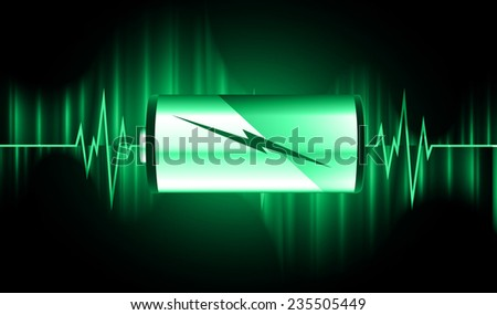 electric battery energy, vector illustration, Pulse - stock vector
