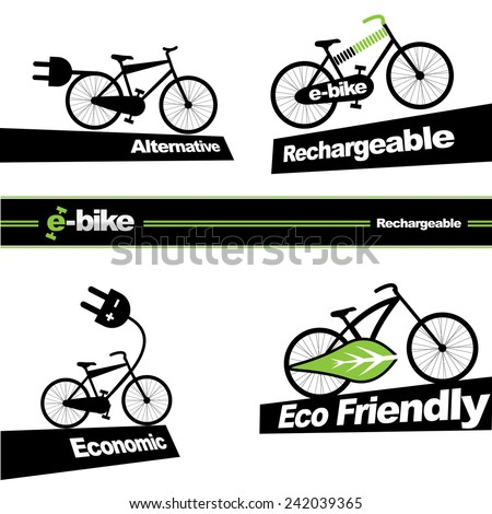 Electric bicycle, e-bike icon - stock vector