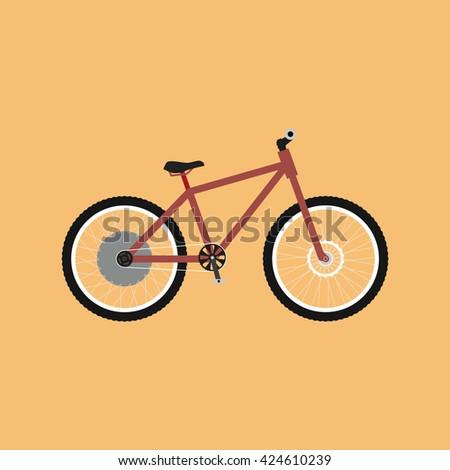 Electric bike - e-bike. Bicycle flat design. Electric bike logo. Vector illustration - stock vector