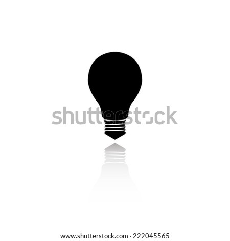 electric bulb icon - black vector illustration with reflection - stock vector