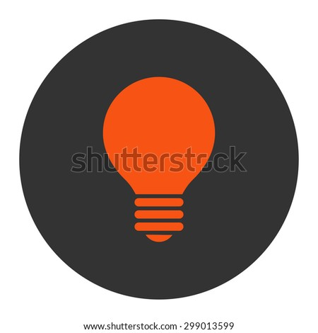 Electric Bulb icon from Primitive Round Buttons OverColor Set. This round flat button is drawn with orange and gray colors on a white background. - stock vector