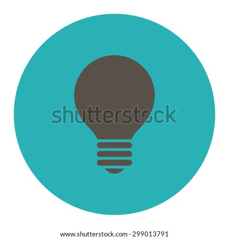 Electric Bulb icon from Primitive Round Buttons OverColor Set. This round flat button is drawn with grey and cyan colors on a white background. - stock vector