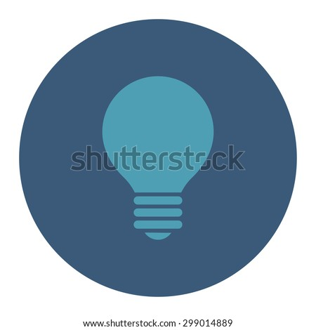 Electric Bulb icon from Primitive Round Buttons OverColor Set. This round flat button is drawn with cyan and blue colors on a white background. - stock vector
