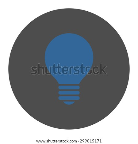 Electric Bulb icon from Primitive Round Buttons OverColor Set. This round flat button is drawn with cobalt and gray colors on a white background. - stock vector