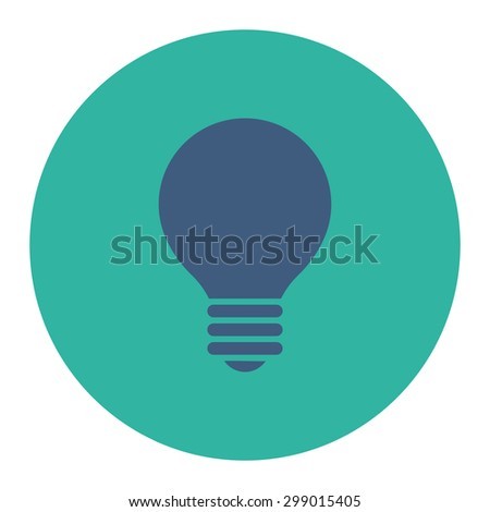 Electric Bulb icon from Primitive Round Buttons OverColor Set. This round flat button is drawn with cobalt and cyan colors on a white background. - stock vector