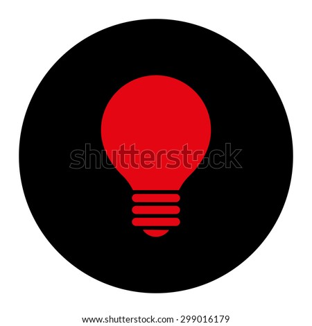 Electric Bulb icon from Primitive Round Buttons OverColor Set. This round flat button is drawn with intensive red and black colors on a white background. - stock vector
