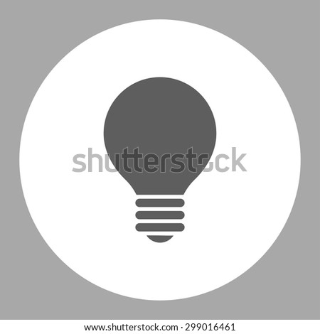 Electric Bulb icon from Primitive Round Buttons OverColor Set. This round flat button is drawn with dark gray and white colors on a silver background. - stock vector