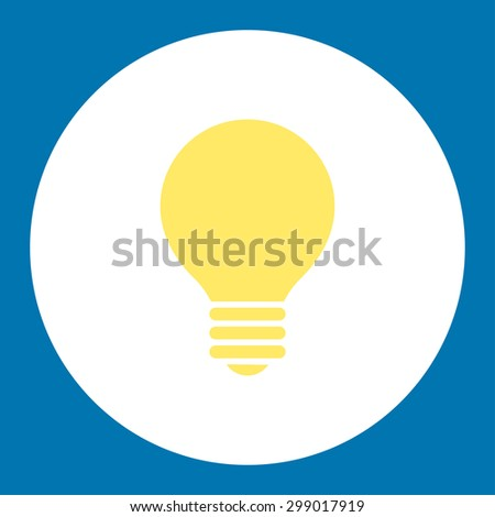 Electric Bulb icon from Primitive Round Buttons OverColor Set. This round flat button is drawn with yellow and white colors on a blue background. - stock vector