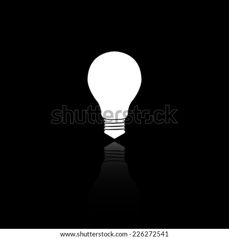 electric bulb icon - vector illustration with reflection isolated on black - stock vector