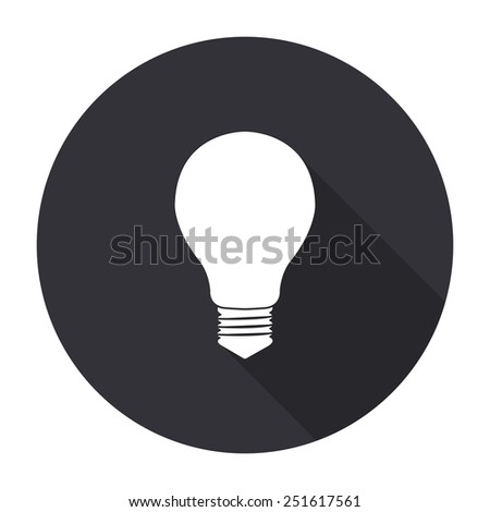 electric bulb icon with long shadow - vector round button - stock vector