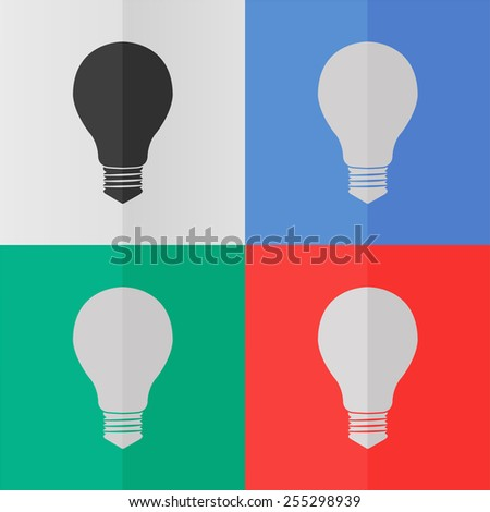 Electric bulb vector icon. Effect of folded paper. Colored (red, blue, green) illustrations. Flat design - stock vector