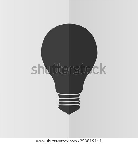 Electric bulb vector icon. Effect of folded paper. Flat design - stock vector