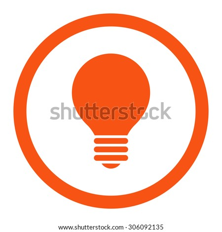 Electric Bulb vector icon. This rounded flat symbol is drawn with orange color on a white background. - stock vector
