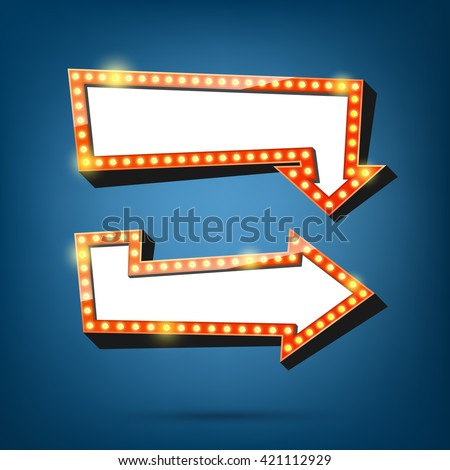 Electric bulbs billboard. Retro arrow light frames. vector illustration. - stock vector