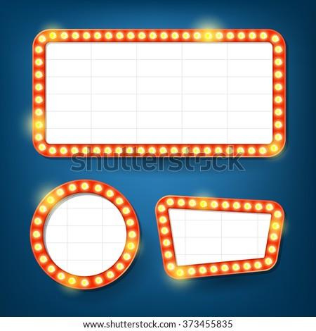 Electric bulbs billboard. Retro light frames. - stock vector