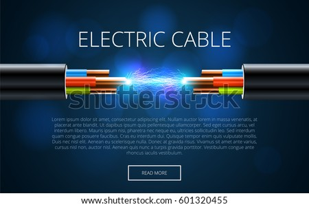Electric cable break. Copper electrical cable in multi-colored insulation with electric spark. Three-core cable on a dark background. Presentation Template