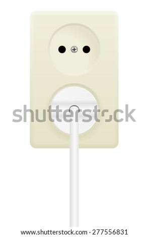 Electric cable in Electrical Outlet. Vector illustration isolated on white background - stock vector