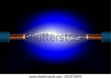 Electric cable with sparks on a black background. Vector. - stock vector