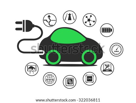 Electric car and electric vehicle concept as vector illustration. Car with power plug to enable electric charging - stock vector