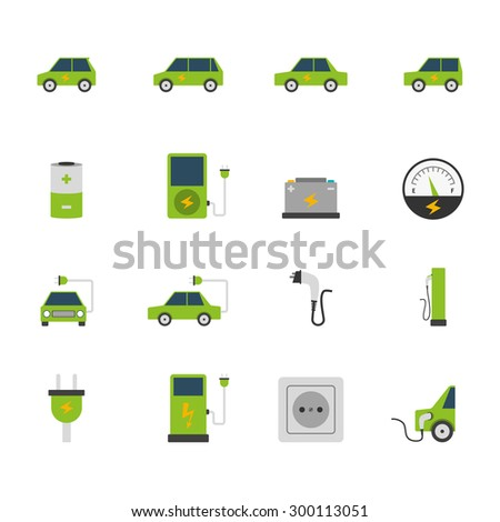 Electric car bus charging station and socket green flat color icon set isolated vector illustration - stock vector