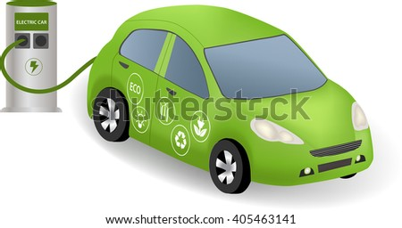 Electric car charging at the charger station. Power supply for electric car. Electric car refuel with power. Eco car with  eco icon. - stock vector