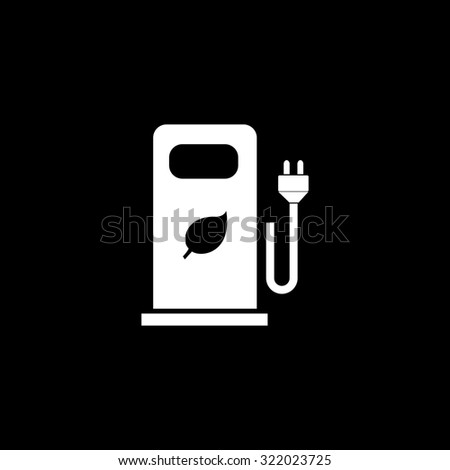 Electric car charging station or Bio fuel petrol. Simple flat icon. Black and white. Vector illustration - stock vector