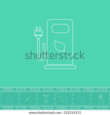 Electric car charging station or Bio fuel petrol. White outline flat symbol and bonus icon. Simple vector illustration pictogram on green background - stock vector
