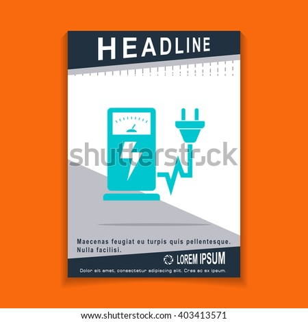 Electric car charging station sign icon, flyers brochure Vector Layout template, size A4 - stock vector