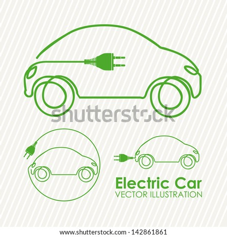 electric car design over lineal background vector illustration - stock vector