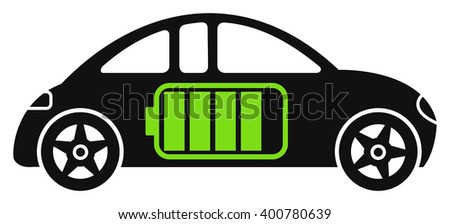 Electric car, electric car with battery, modern electric car, electric car icon, electric car black and white, electric hybrid car, electric car accumulating, electric car loading - stock vector