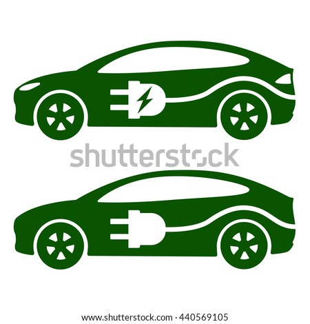 Electric car, ev icon Vector Illustration. Side view of electric car, cable and plug. - stock vector