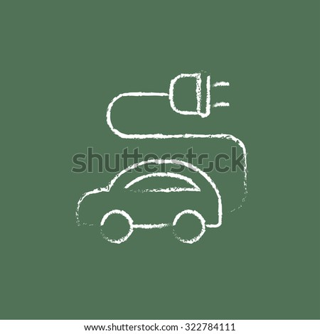 Electric car hand drawn in chalk on a blackboard vector white icon isolated on a green background. - stock vector