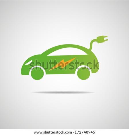 Electric car icon - stock vector