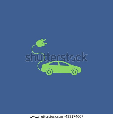 electric car icon. Flat design style eps 10 - stock vector