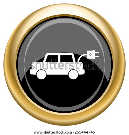Electric car icon. Internet button on white  background. EPS10 Vector.  - stock vector