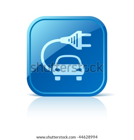 Electric car icon on blue glossy square web button. Vector vehicle symbol
