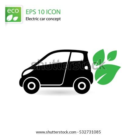 Electric Car Logo Template Sign Icon Stock Vector