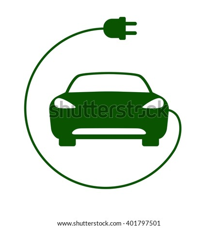 Electric car icon Vector Illustration. Front view of electric car and cable with plug - stock vector