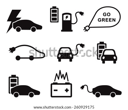 Electric car icons vector set on white - stock vector