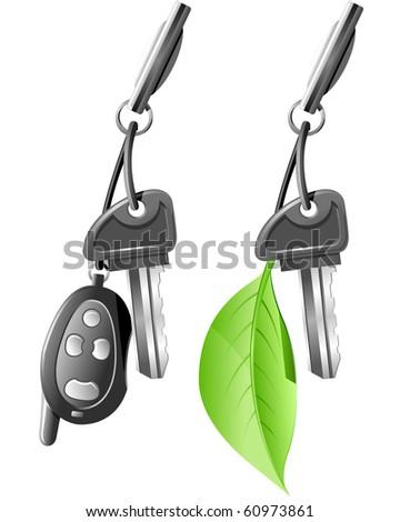 Electric Car Key - stock vector